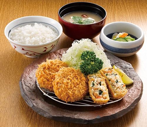 ヒレかつと豆乳湯葉コロッケ定食