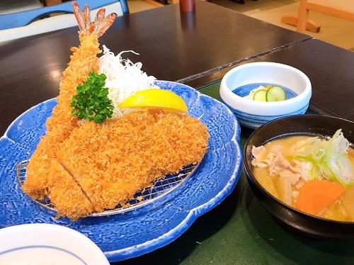 まんぷくランチ(ロースかつ&海老フライ) 880円+税